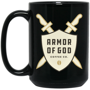Armor of God White Logo - 15 oz. Black Mug