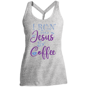 I run on Jesus and Coffee Ladies' Cosmic Twist Back Tank