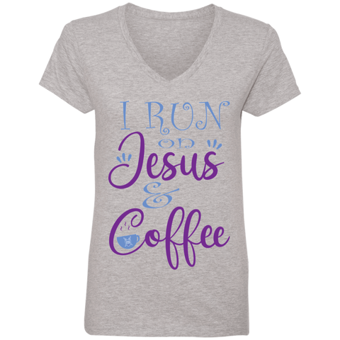 I run on Jesus and Coffee Ladies' V-Neck T-Shirt