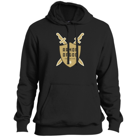 Armor of God Coffee Pullover Hoodie Tan Logo