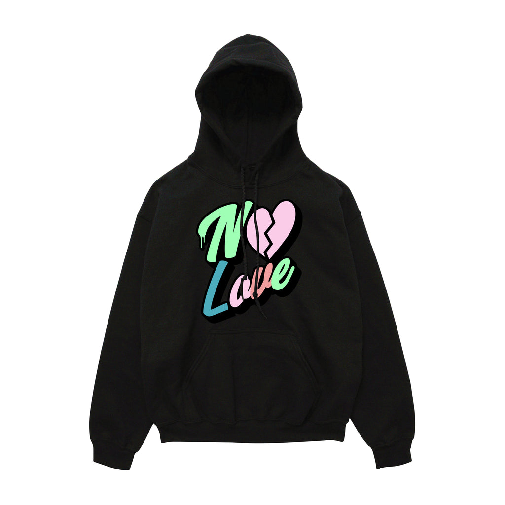 No Love Chenille Patch Hoody - Black