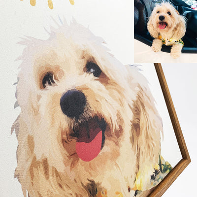 Custom Pet Art Stretched Canvas Prints With Wooden Frame - Pet Memorial Ideas