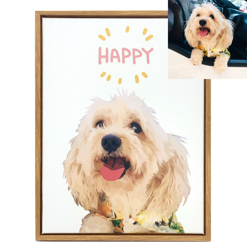 Custom Pet Art Stretched Canvas Prints With Wooden Frame - Pet Art Pet Memorial Ideas
