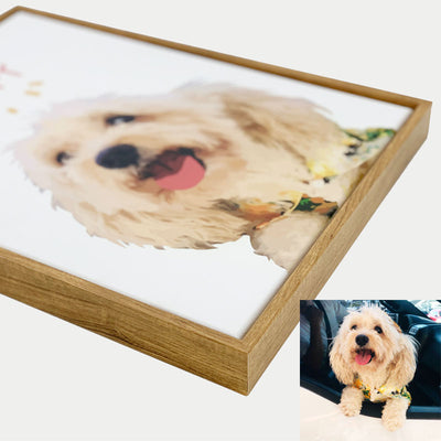 Custom Pet Stretched Canvas Prints With Wooden Frame