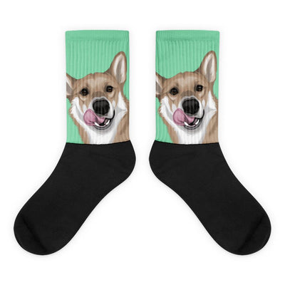 Custom Pet Socks Sideways Print(With Background Selection) - Pet Art Pet Memorial Ideas