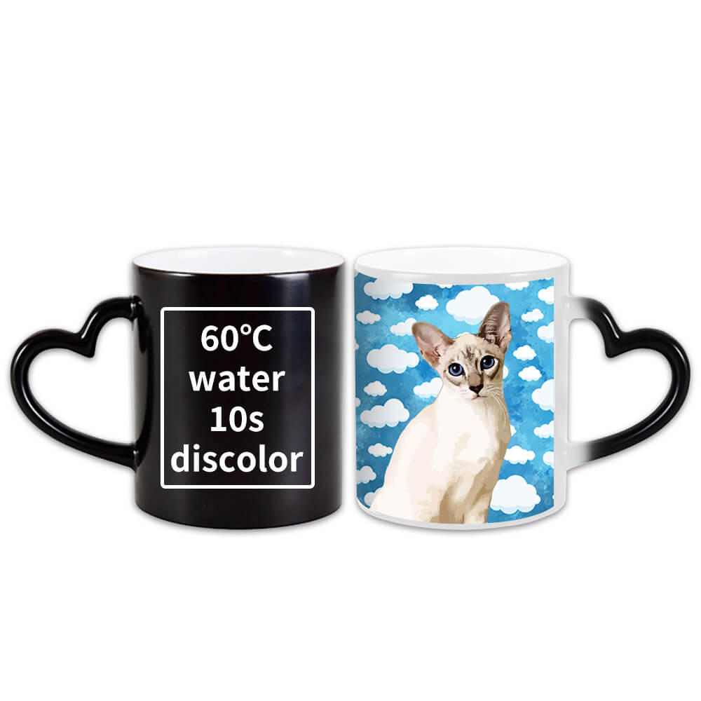 Custom Pet Art Color Changing Coffee Mug(Love Heart Holder) - Pet Art Pet Memorial Ideas