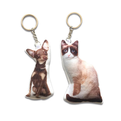 Custom Pet Portrait Shaped Key chain - Pet Art Pet Memorial Ideas
