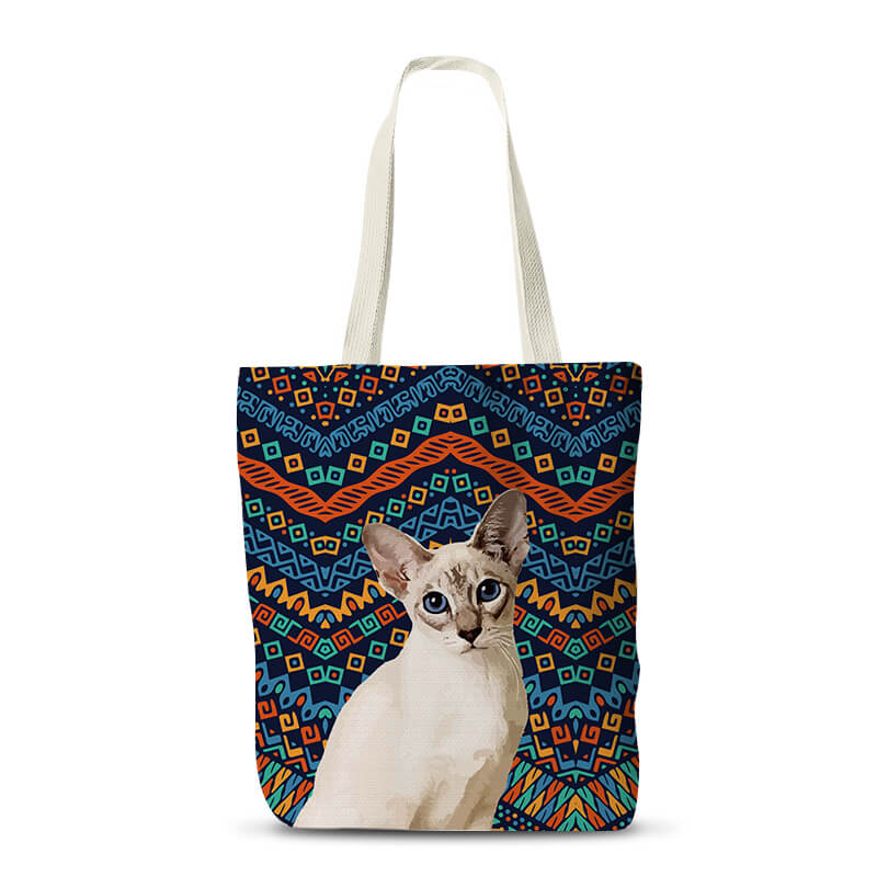 Custom Pet Canvas Tote Shopper - Pet Art Pet Memorial Ideas