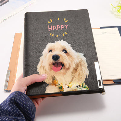 Custom Pet Portrait Leather Note Book (A5) - Pet Art Pet Memorial Ideas