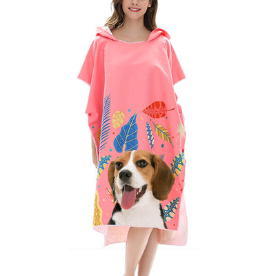 Custom Pet Art Hoodie Beach Towel - Adults - Pet Memorial Ideas