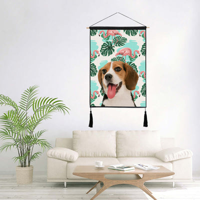 Custom Pet Art Canvas Poster Wooden Frame Hanger(With Tassel) - Pet Memorial Ideas