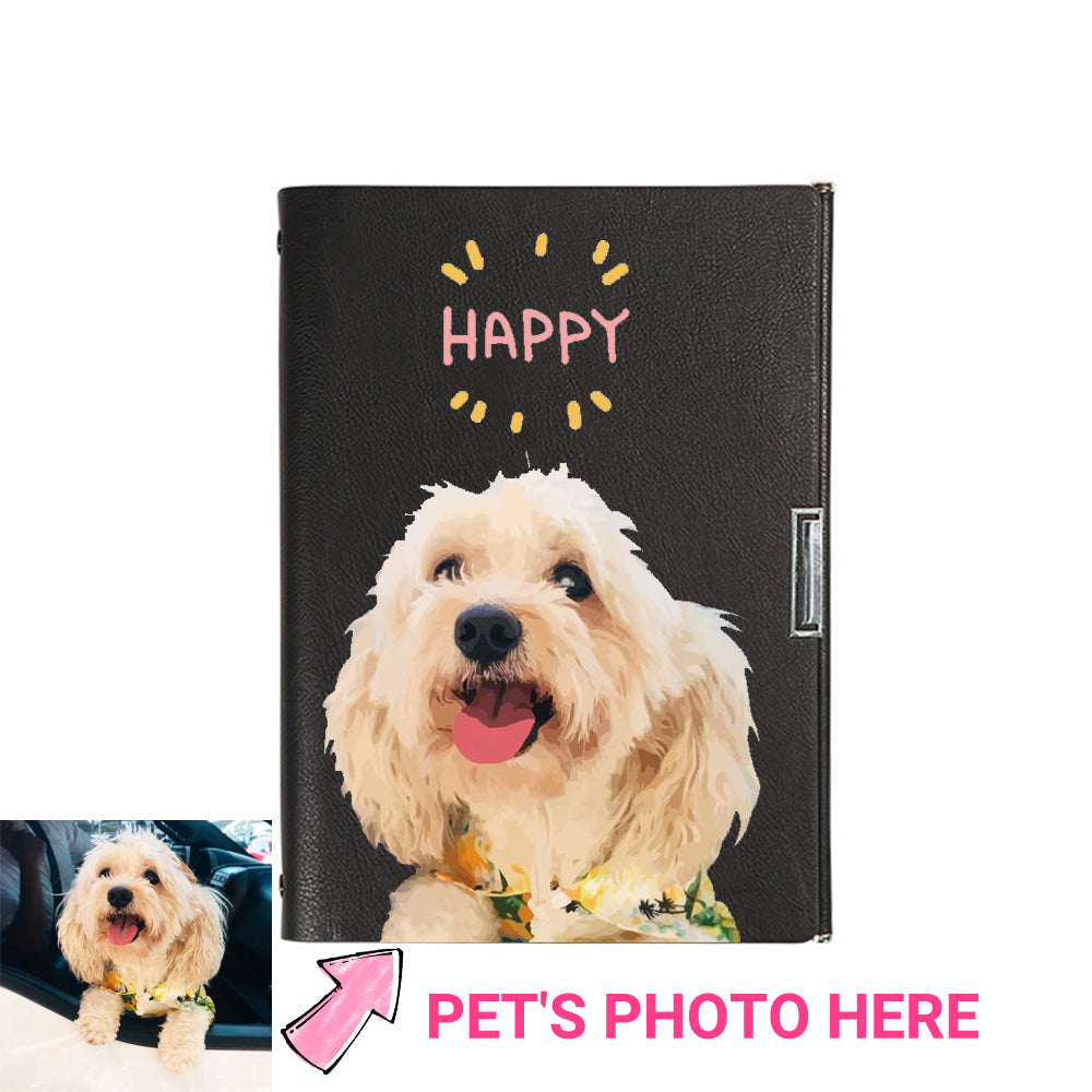 Custom Pet Portrait Leather Note Book (A5) - Pet Memorial Ideas
