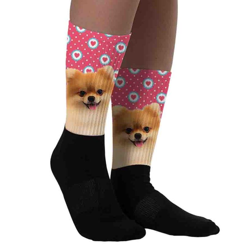 Custom Pet Socks Half Print(With Background Selection) - Pet Art Pet Memorial Ideas