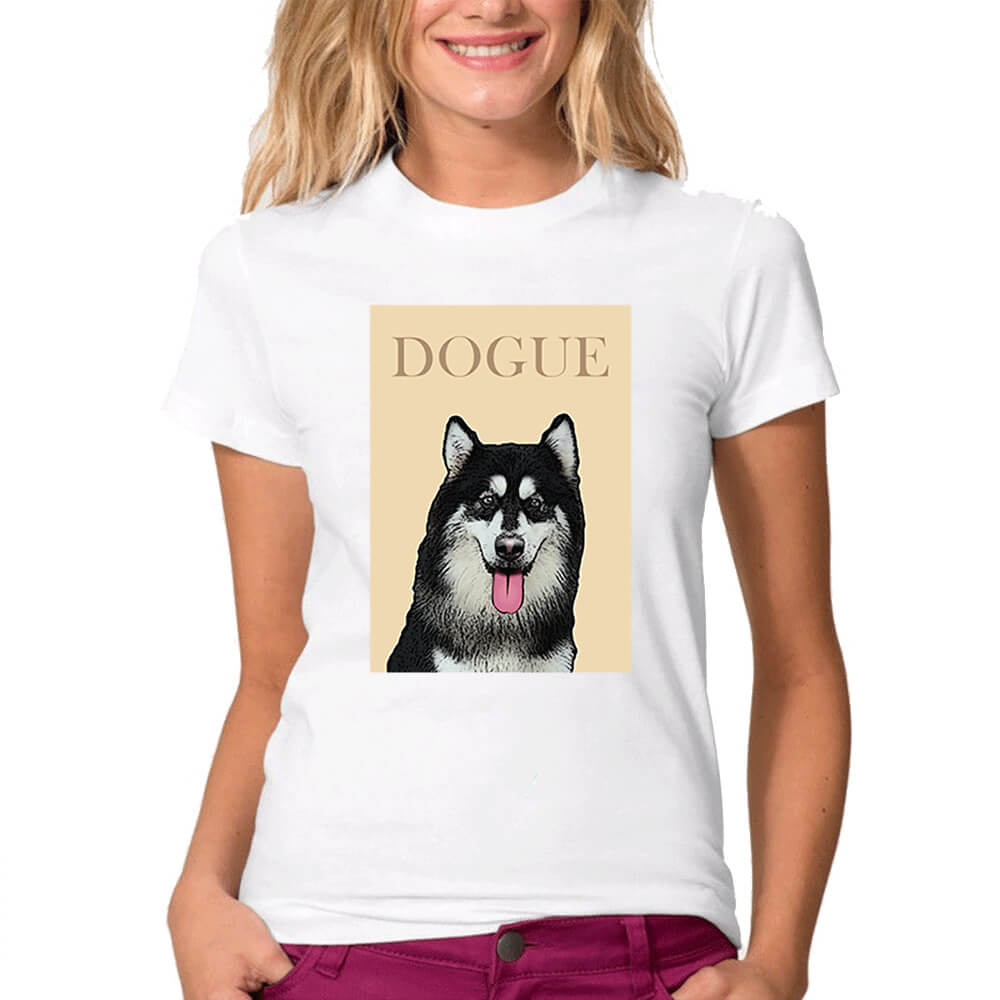 Custom Pet Art Crew Neck Tee - Ladies'(Standard Fitted) - Pet Art Pet Memorial Ideas