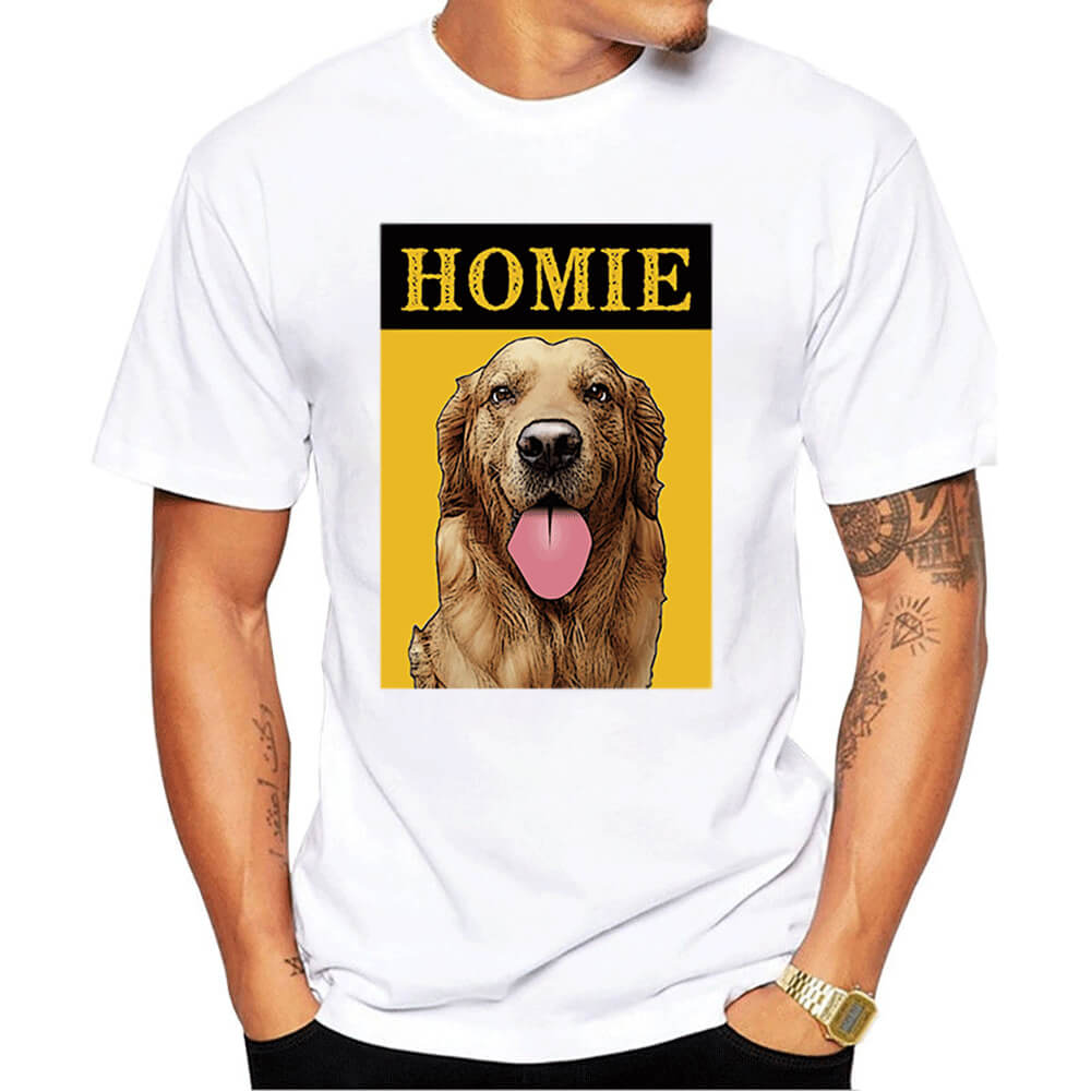 Custom Pet Art Crew Neck Tee - Men's(Standard Fitted) - Pet Art Pet Memorial Ideas