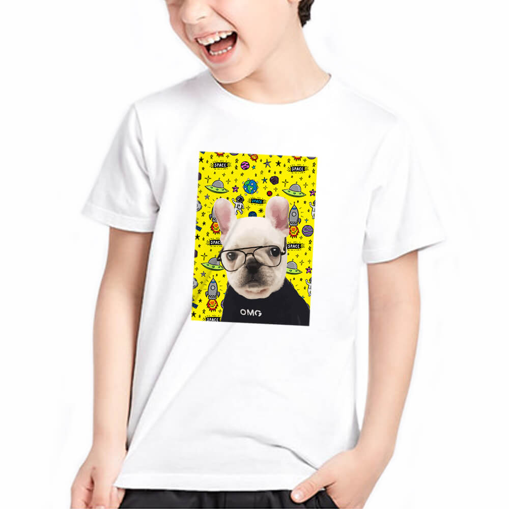 Custom Pet Art Crew Neck Tee - Kids(Standard Fitted) - Pet Art Pet Memorial Ideas