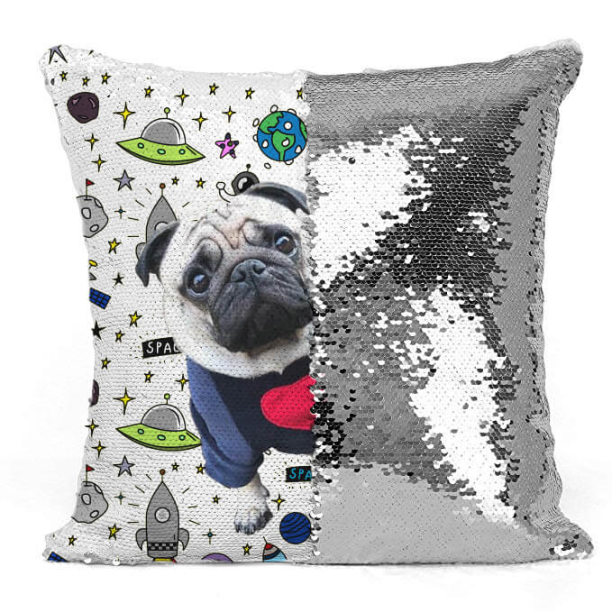 Custom Pet Photo Sequin Pillow Cover 16in x 16in - Pet Art Pet Memorial Ideas