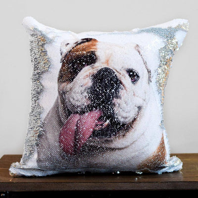 Custom Pet Photo Sequin Pillow Cover 16in x 16in