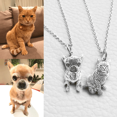 Custom Pet Portrait Necklace 925 Silver