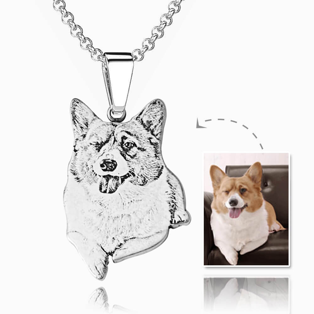 Custom Pet Portrait Necklace 925 Silver - Pet Memorial Ideas