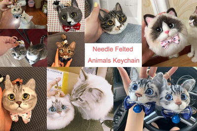 Custom Pet Needle Felted Keychain Car Decoration - Pet Memorial Ideas