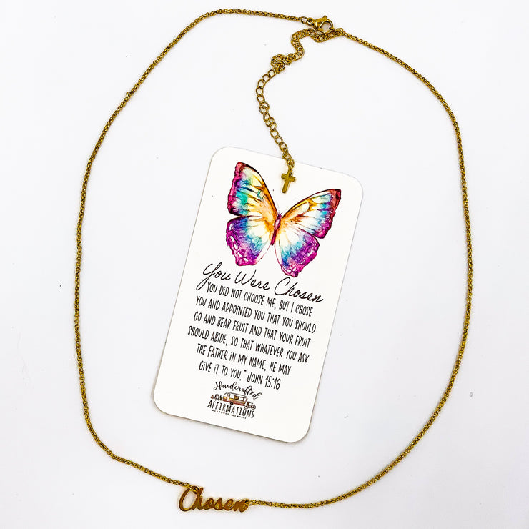 """You Were Chosen"" Word Necklace-Handcrafted Affirmations"
