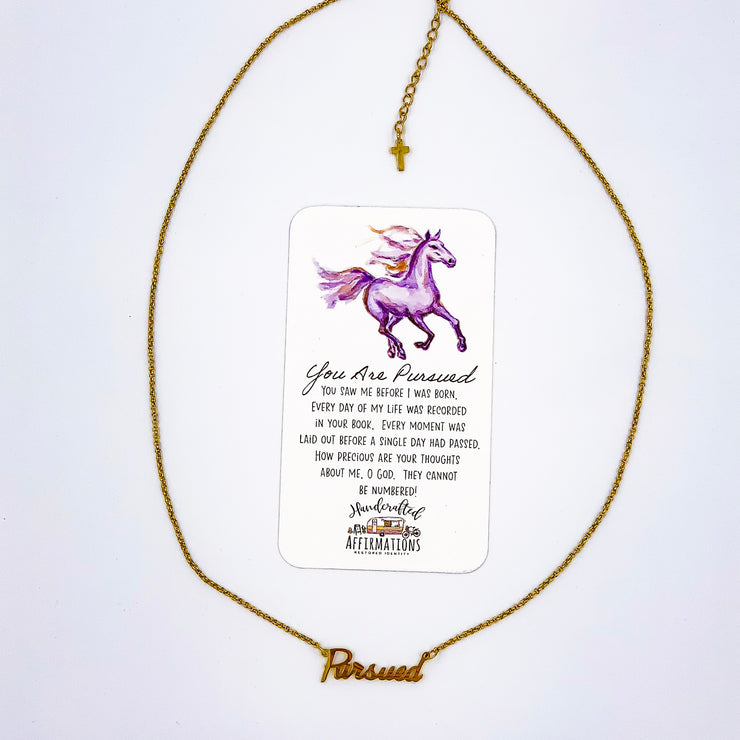 """You Are Pursued"" Word Necklace-Handcrafted Affirmations"