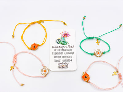 "Single ""BLOOM Where You Are Planted"" Bracelet-Handcrafted Affirmations"