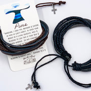 """Pure"" Leather Bracelet Set-Handcrafted Affirmations"