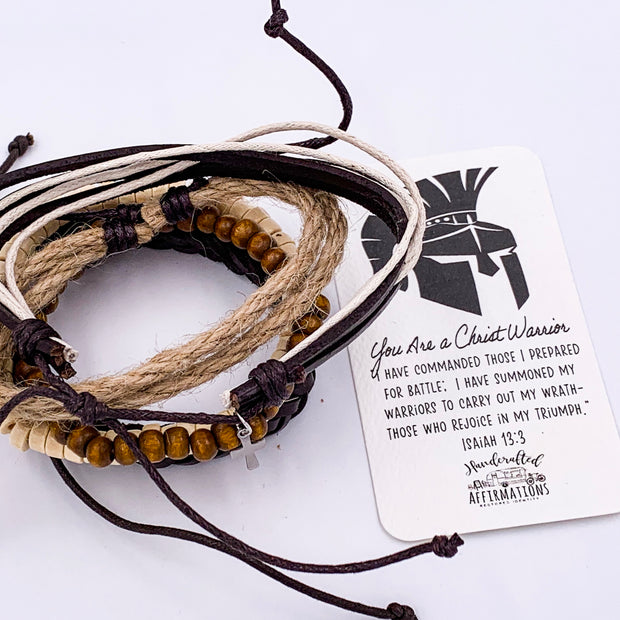"""You Are A Christ Warrior"" Handmade Leather Bracelet-Handcrafted Affirmations"