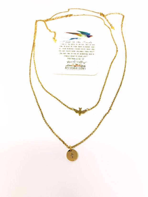 """Look To The Birds"" Necklace Set-Handcrafted Affirmations"