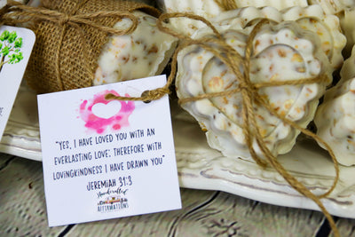 """You're Loved"" Heart Shaped Oatmeal Honey Soap-Handcrafted Affirmations"