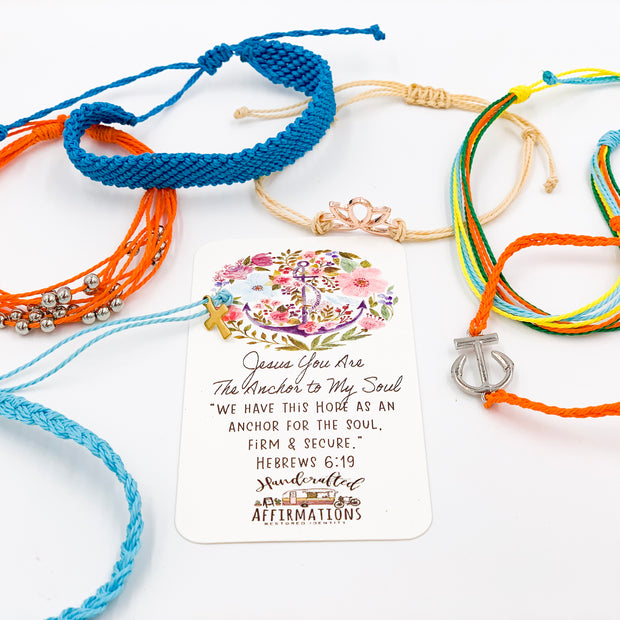 """Jesus Is The Anchor To My Soul"" Handmade Bracelet Set-Handcrafted Affirmations"