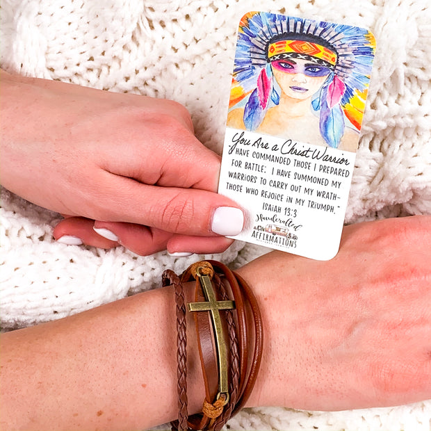 """You Are A Christ Warrior"" Female Leather Bracelet-Handcrafted Affirmations"