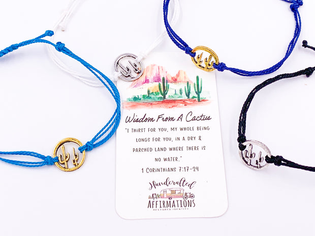 """Wisdom From A Cactus"" Bracelet-Handcrafted Affirmations"