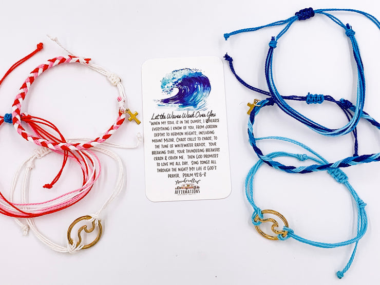 """Let The Waves Wash Over You"" Handmade Bracelet Set-Handcrafted Affirmations"