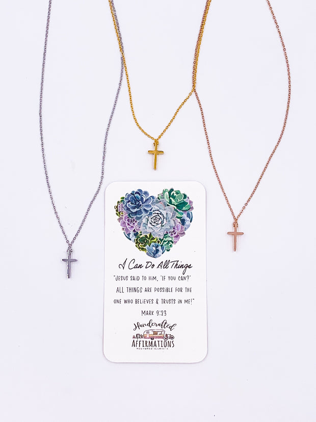 """I Can Do All Things"" Cross Necklace-Handcrafted Affirmations"