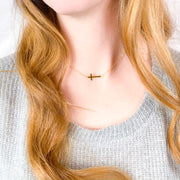 """Be Still"" Side Cross Necklace-Handcrafted Affirmations"
