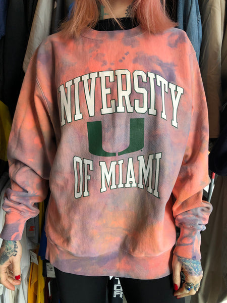 Champion Tie Dye University of Miami Sweatshirt