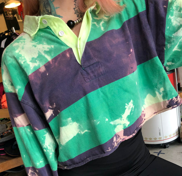 Urban Outfitters Tie Dye Crop Rugby Shirt