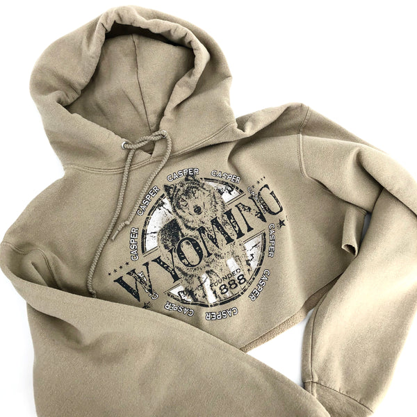 RECOLLECTION Wyoming Lone Wolf Crop Hoodie