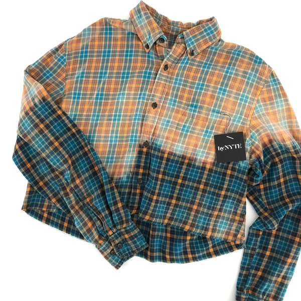 RECOLLECTION Plaid Ombré Boxy Crop Flannel