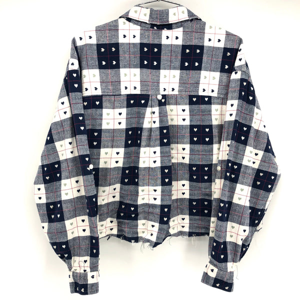 RECOLLECTION Plaid Heart Boxy Crop Flannel
