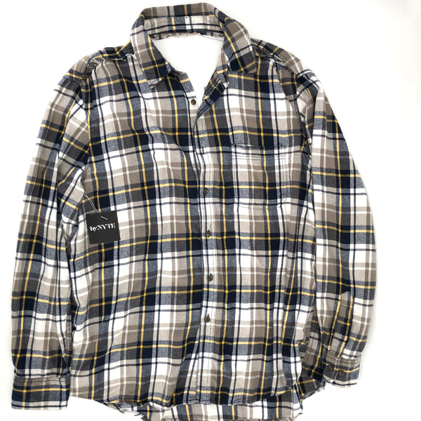 RECOLLECTION Plaid Open Back Distressed Flannel