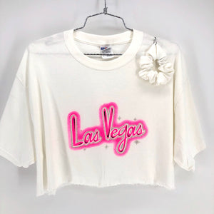 RECOLLECTION Vintage LV Glitter Boxy Crop T-Shirt