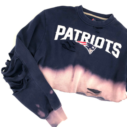 RECOLLECTION Distressed Patriots Crop Sweatshirt