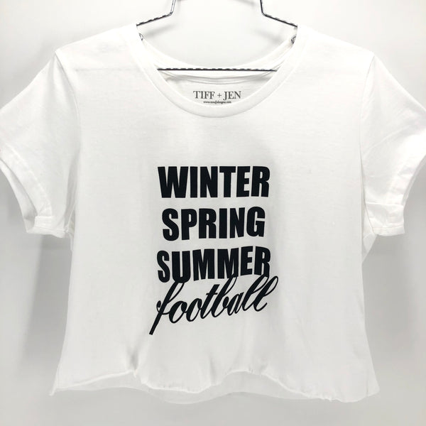 RECOLLECTION Distressed Football Crop T-Shirt