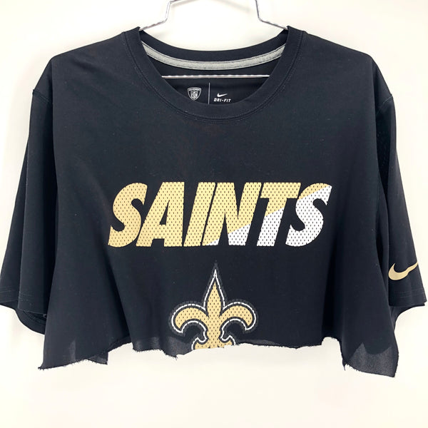 RECOLLECTION Distressed Saints Wide Crop T-Shirt