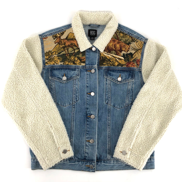 RECOLLECTION 90s Patchwork Denim Sherpa Jacket