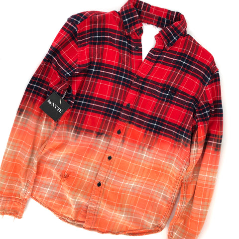 RECOLLECTION Open Back Plaid Ombre Flannel
